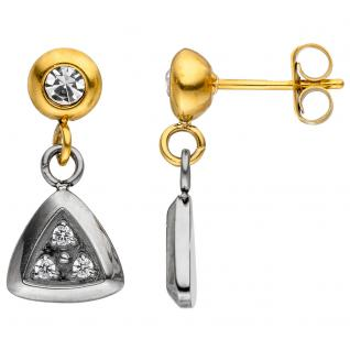 Ohrhänger Edelstahl bicolor beschichtet mit Kristallsteinen und 6 Zirkonia