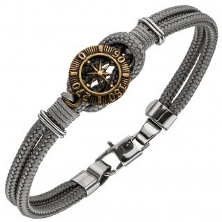 Armband Kompass 2-reihig Baumwolle grau mit Edelstahl 21 cm