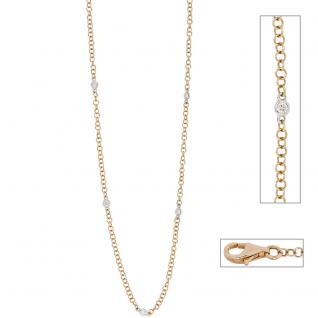 Collier Halskette 585 Gold bicolor 5 Diamanten Brillanten 43 cm Kette Goldkette