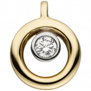 Anhänger 585 Gold Gelbgold 1 Diamant Brillant Diamantanhänger