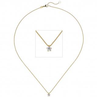 Collier Kette mit Anhänger 585 Gold Gelbgold 1 Diamant Brillant 0, 15 ct. 45 cm