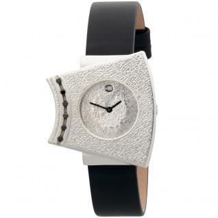 ARS Damen-Armbanduhr Quarz Analog 925 Sterling Silber Lederband Mineralglas