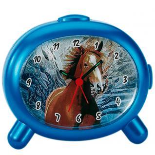 Atlanta 1183/P Wecker Kinderwecker Pferd Quarz blau Pferdewecker für Kinder