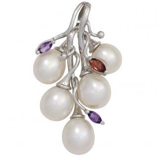 Anhänger 925 Silber 5 Süßwasser Perlen 2 Amethyste 1 Granat Perlenanhänger
