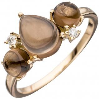 Damen Ring 585 Gold Gelbgold 3 Rauchquarz-Cabochons braun 2 Diamanten Brillanten