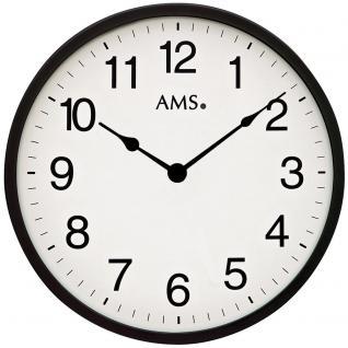 AMS 9495 Wanduhr Quarz analog schwarz weiß rund schlicht sehr flach