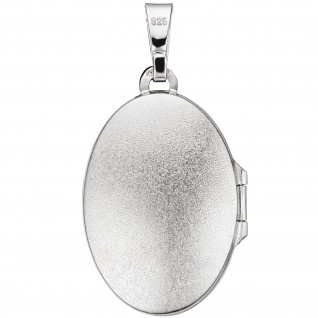Medaillon oval für 2 Fotos 925 Sterling Silber matt Anhänger zum Öffnen - Vorschau 2