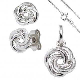 Schmuck-Set Knoten 585 Gold Weißgold 3 Diamanten Ohrringe und Kette 42 cm - Vorschau 1