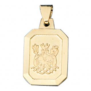 Anhänger Sternzeichen Wassermann 333 Gold Gelbgold matt Sternzeichenanhänger