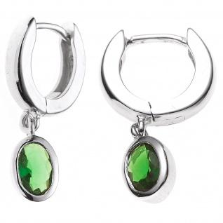 Creolen 925 Silber 2 Zirkonia grün Ohrringe Silberohrringe Silbercreolen