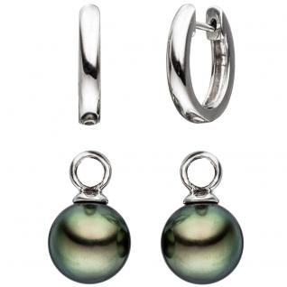 Creolen 585 Gold Weißgold 2 Tahiti Perlen Ohrringe Perlenohrringe - Vorschau 2