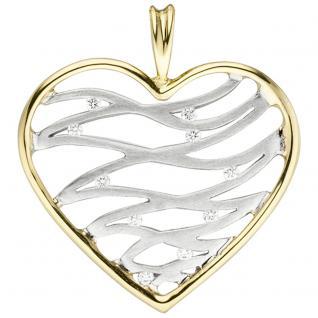 Anhänger Herz 585 Gold Gelbgold Weißgold bicolor 10 Diamanten Brillanten - Vorschau