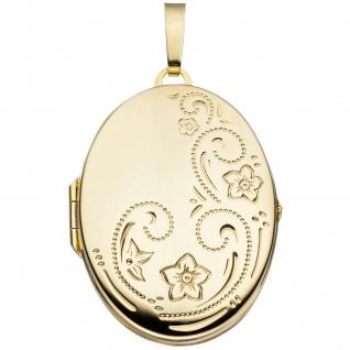 Medaillon oval Blumen 333 Gold Gelbgold Anhänger zum Öffnen
