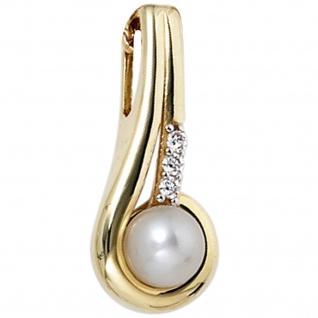 Schmuck-Set 333 Gold Gelbgold Perlen Zirkonia Ohrringe und Kette 45 cm - Vorschau 4
