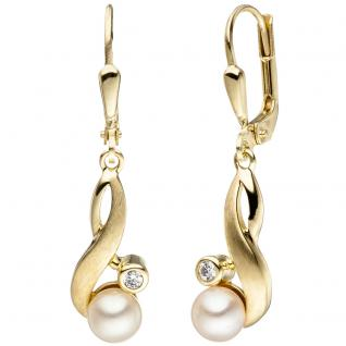 Ohrhänger 333 Gold Gelbgold matt 2 Süßwasser Perlen 2 Zirkonia Ohrringe