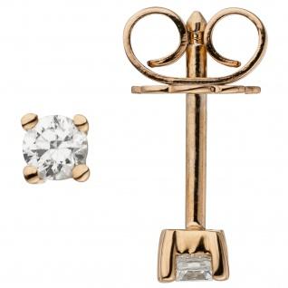 Ohrstecker 585 Gold Rotgold 2 Diamanten Brillanten 0, 24 ct. Ohrringe