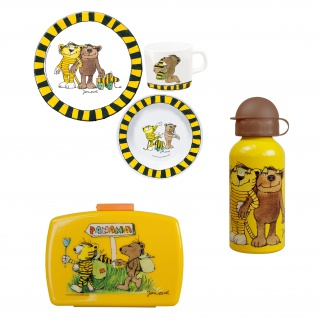 JANOSCH Frühstücks-Set für Kinder Kindergeschirr Trinkflasche Brotdose