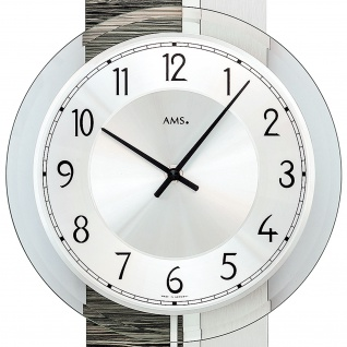 AMS 7439 Wanduhr Quarz mit Pendel silbern grau Holz Optik Pendeluhr mit Glas - Vorschau 2