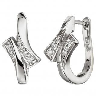 Creolen 925 Sterling Silber mit Zirkonia Ohrringe Silbercreolen Silberohrringe