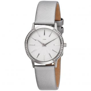 JOBO Damen Armbanduhr Quarz Edelstahl mit SWAROVSKI® ELEMENTS Lederband grau