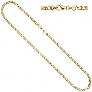 Halskette Kette 585 Gold Gelbgold teil matt 50 cm Goldkette Karabiner