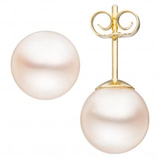 Ohrstecker 585 Gold Gelbgold 2 Süßwasser Perlen Ohrringe