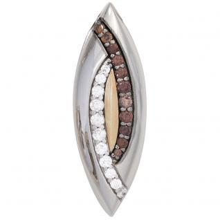 Anhänger 925 Sterling Silber rhodiniert bicolor vergoldet 10 Zirkonia