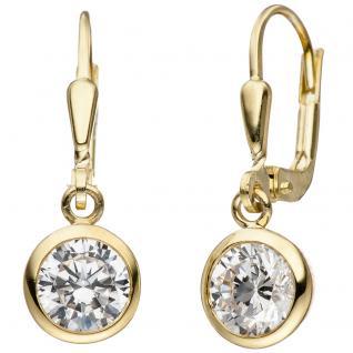 Ohrhänger 925 Sterling Silber gold vergoldet 2 Zirkonia Ohrringe