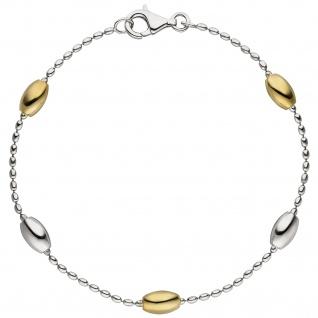 Armband 925 Sterling Silber bicolor vergoldet 19 cm Silberarmband
