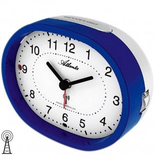 Atlanta 1851/5 Wecker Funk Funkwecker analog blau grau mit Licht Sensor Snooze