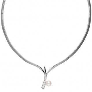Collier Halskette 925 Sterling Silber 1 Süßwasser Perle mit Zirkonia 42 cm Kette