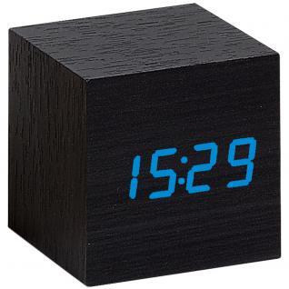 Atlanta 1134/7 Wecker Würfel digital Holz Optik schwarz Datum Thermometer