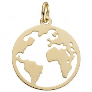 Anhänger Weltkarte 585 Gold Gelbgold