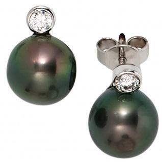 Ohrstecker 585 Gold Weißgold 2 Diamanten Brillanten 2 Tahiti Perlen Ohrringe