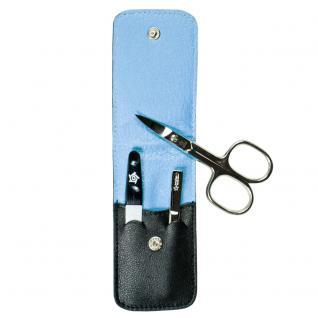 Pfeilring Maniküretui, Nappaleder schwarz, Futter hellblau, 3-teilige Bestückung