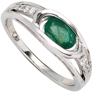 Damen Ring 585 Gold Weißgold 1 Smaragd grün 6 Diamanten Brillanten Goldring