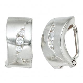 Ohrclips 925 Sterling Silber rhodiniert mattiert 6 Zirkonia Ohrringe Clips