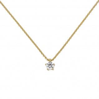 Collier Kette mit Anhänger 585 Gold Gelbgold 1 Diamant Brillant 0, 15 ct. 45 cm - Vorschau 3