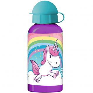 EINHORN Kinder Trinkflasche aus Aluminium lila türkis 400 ml