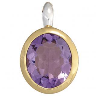 Anhänger oval 925 Sterling Silber bicolor vergoldet 1 Amethyst lila violett