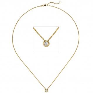 Collier Kette mit Anhänger 585 Gold Gelbgold 1 Diamant Brillant 0, 15 ct. 45 cm - Vorschau 1