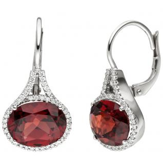 Ohrhänger 585 Gold Weißgold 88 Diamanten Brillanten 2 Granate rot Ohrringe