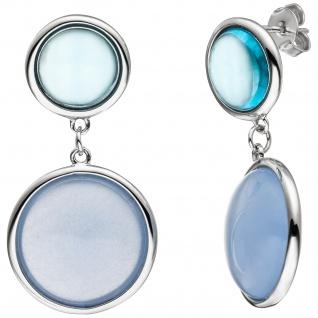 Ohrhänger 925 Silber 2 Blautopase 2 Calzedone hellblau blau Ohrringe Ohrstecker