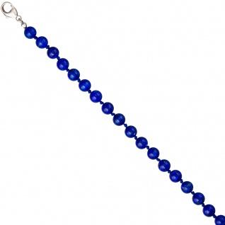 Halskette Edelsteinkette Lapislazuli blau 45 cm Kette Verschluss 925 Silber