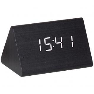 Atlanta 1135/7 Wecker Netzwecker digital Holz Optik schwarz Datum Thermometer