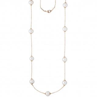 Collier Kette Halskette 925 Silber rotgold vergoldet 13 Süßwasser Perlen 90 cm