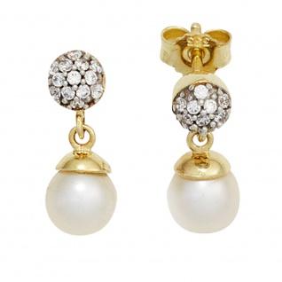 Ohrstecker 333 Gelbgold bicolor 2 Süßwasser Perlen mit Zirkonia Ohrringe