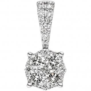 Anhänger 585 Gold Weißgold 18 Diamanten Brillanten 0, 36ct. Diamantanhänger