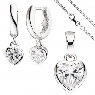 Kinder Schmuck-Set Herz 925 Silber mit Zirkonia Anhänger Ohrringe Kette 42 cm