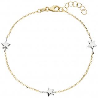 Armband Stern Sterne 375 Gold Gelbgold Weißgold bicolor diamantiert 18 cm
